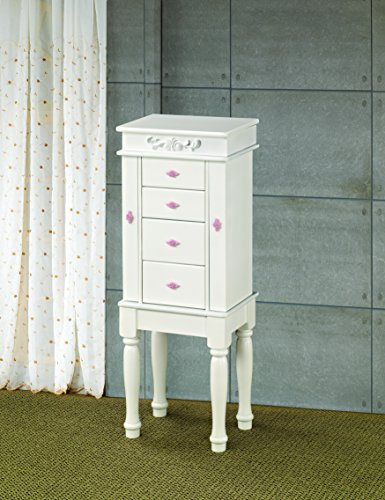 Coaster 900146 Traditional Jewelry Armoire, White (Vanity Armoire)