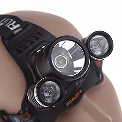 Topwell® 5000Lm Rechargeable HEADLAMPS 3 x Cree XML T6+2R2 LED Headlamp Headlight Torch Light Work Lights Headlamps with 2Pcs 3.7V 18650 4000mah Rechargeable Battery AC Charger and Car charger for Night Fishing Hunting Camping
