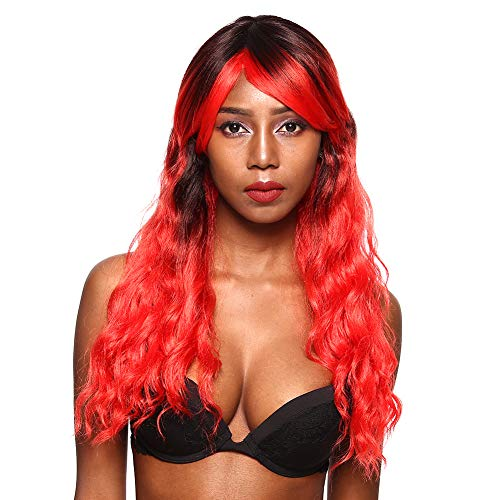 NFACE Long Ombre Black to Red Deep Curly Synthetic Kanekalon Wig Hair Repacement Night Dance Club Cosplay Party women's lady's Girls Celebrity Costume Cute Punk Halloween Christmas Theater -
