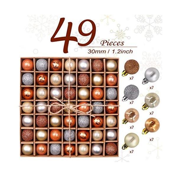 Valery Madelyn Palle di Natale 49 Pezzi 3 cm Addobbi Natalizi per Albero, Rame da Bosco e Oro Infrangibile Ornamenti Palla di Natale Decorazione per Albero di Natale Decor 3 spesavip