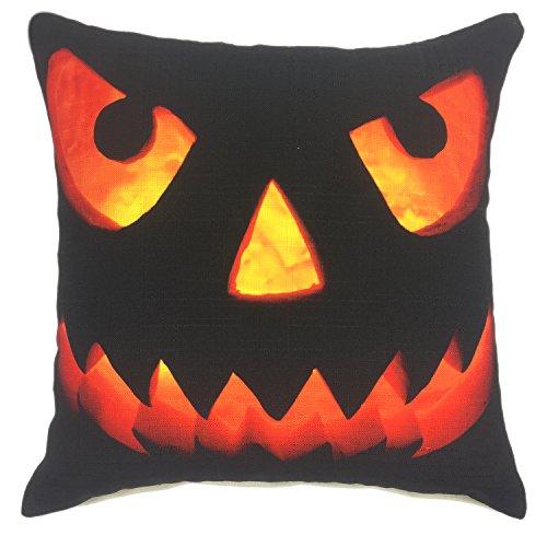 YOUR SMILE Pumpkin Cotton Linen Square Decorative Throw Pillow Case Cushion Cover 18x18 Inch(45CM45CM) (Halloween 5)