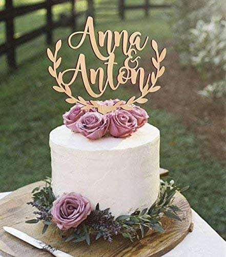 218a85dd6d035 Amazon.com: Personalized wedding cake topper, rustic wedding cake ...