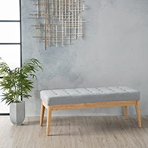 Christopher Knight Home Living Anglo Light Grey Fabric Bench, 15.75″ D x 43.50″ W x 17.00″ H