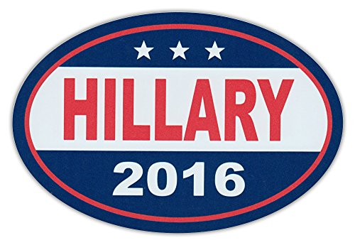 Oval Car Magnet - Hillary Clinton 2016 For President - Magnetic Bumper Sticker