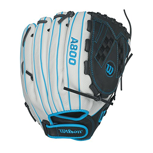 Wilson Aura Game Ready Fastpitch Softball Gloves, Ivory/Electric Blue, 12.5