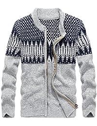 "<span class=""a-offscreen"">[Sponsored]</span>Men's Thick Jacquard Pattern Zip-up Open Knit Cardigan Sweater"