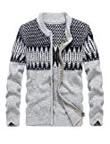 Product review for FlavorShow Men's Thick Jacquard Pattern Zip-up Open Knit Cardigan Sweater