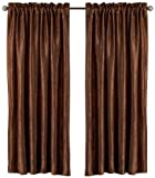 Elegant Home Fashions Aretha Crushed Faux Silk 52-Inch by 84-Inch Window Panels, Chocolate