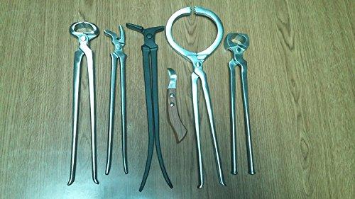 V3products Farrier tools 6 pcs hoof nipper clincher tester shoe puller spreader loop knife