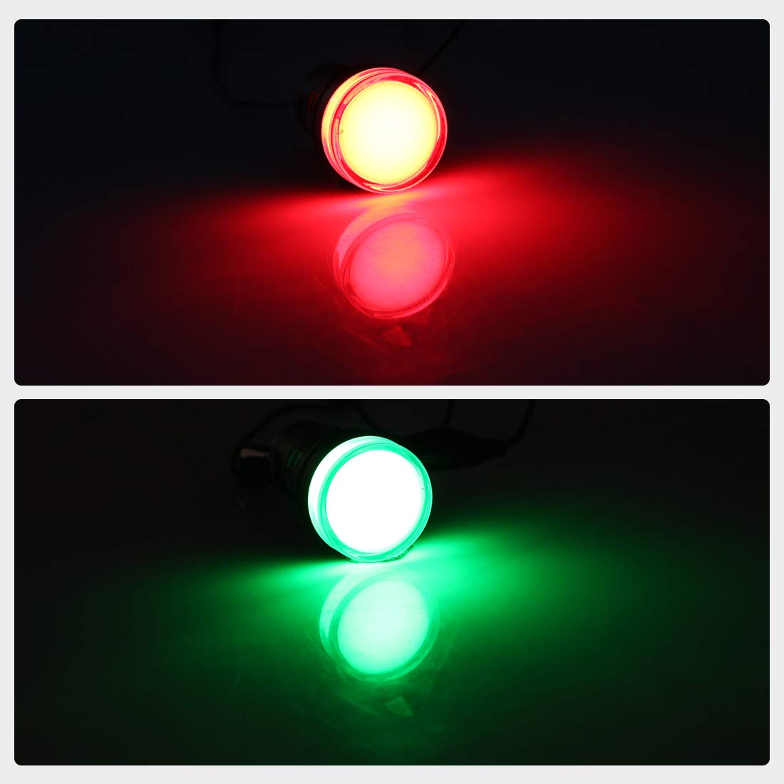 uxcell 10Pcs Red Green Indicator Light AC/DC 110V, 22mm Panel Mount, for Electrical Control Panel, HVAC, DIY Projects: Industrial & Scientific