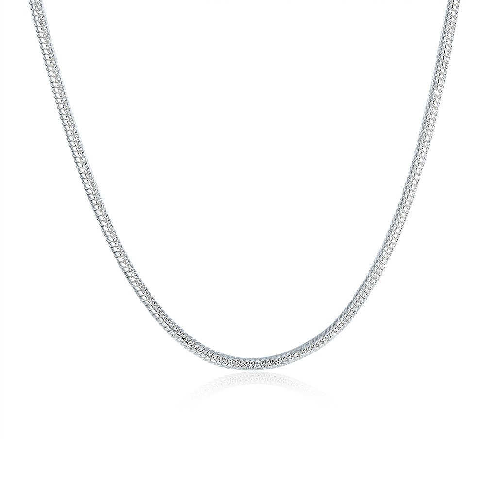 WWYSB Silver Plated 2mm Magic Round Snake Necklace Chain Bulk 16''-22''