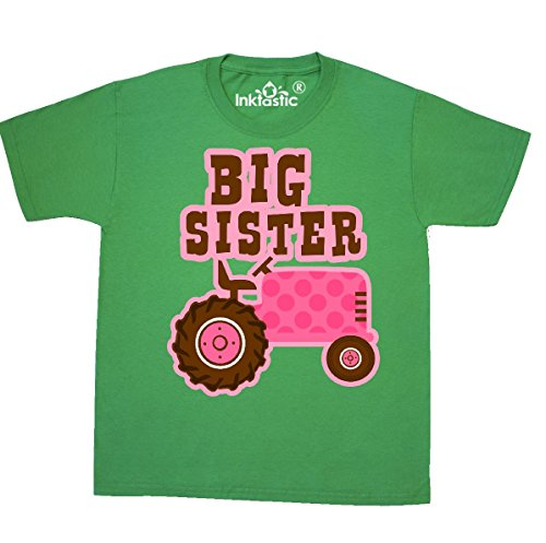 inktastic - Pink Tractor Big Sister Youth T-Shirt Youth Small (6-8) Kelly Green