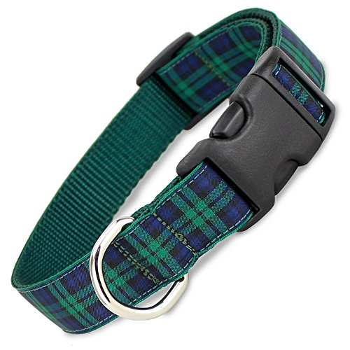 The Artful Canine Blackwatch Plaid Dog Collar, Medium Dogs, 22-35lbs (Collar: 3/4