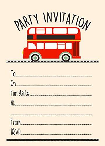 10 x london bus birthday party children invitations amazon 10 x london bus birthday party children invitations stopboris Choice Image