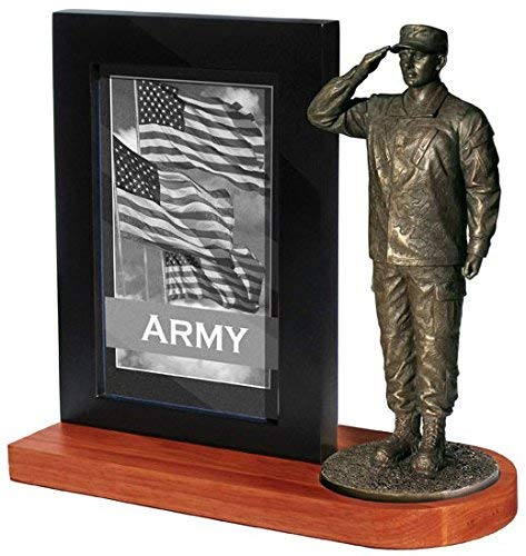 (Khaki Army MD103W US Army Soldier in Army Combat Uniform Saluting on Wood Base with 4x6 Photo Frame)