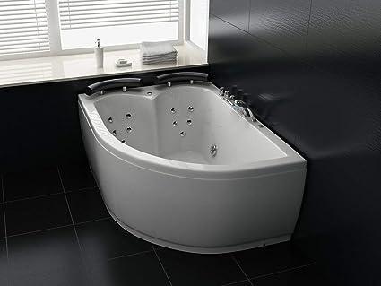 Altezza Vasca Da Bagno Angolare : Vasca da bagno angolare bianca con idromassaggio e led versione