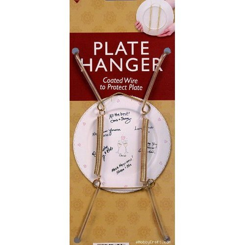 Creative Hobbies Plate Display Hangers, Spring Style, Expandable to Hold 8 to 10 Inch Plates- Gold Wire Spring Type -Pack of 6 Hangers