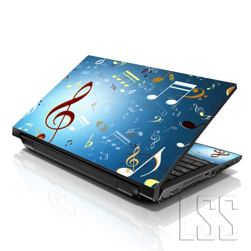 LSS 15 15.6 inch Laptop Notebook Skin Sticker Cover Art Decal Fits 13.3 14 15.6 16 HP Dell Lenovo Apple Asus Acer Compaq (Free 2 Wrist Pad Included) Music Notes