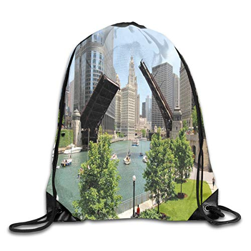 2019 Funny Drawstring Backpacks Bags Daypacks,Downtown Chicago Illinois Finance Business Center Lake Michigan Avenue Bridge,Adjustable For Sport Gym Traveling