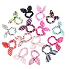 "HipGirl Boutique Girls Pony Holder Value Pack (15pc 3.5"" Fabric Bunny Ears Pony Holder)"