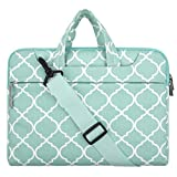 Mosiso MacBook Pro 13 Sleeve with Shoulder Strap 2016 and 2017 / Surface Pro 2017 / Surface Pro 4/3 Quatrefoil Canvas Fabric Laptop Bag Case Cover, Compatible with iPad Pro 12.9 Inch, Hot Blue