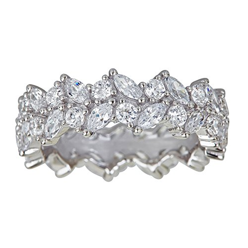 Multi Stone Band (Sterling Silver Cubic Zirconia Marquise & Round Multi Stone Eternity Band Ring)