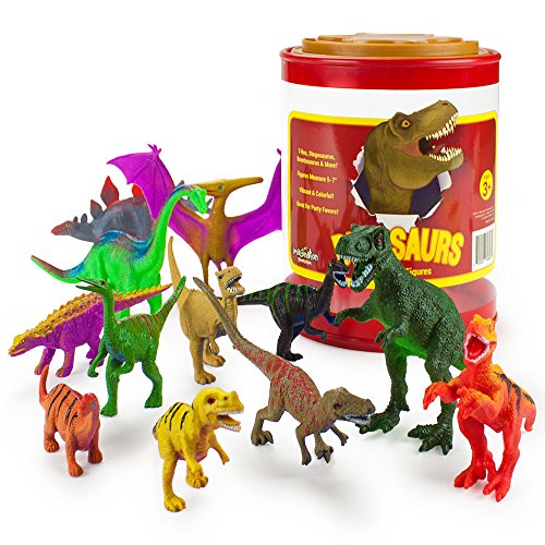 "Set of 12 Large 7"" Dinosaur Assortment with Plastic Storage"