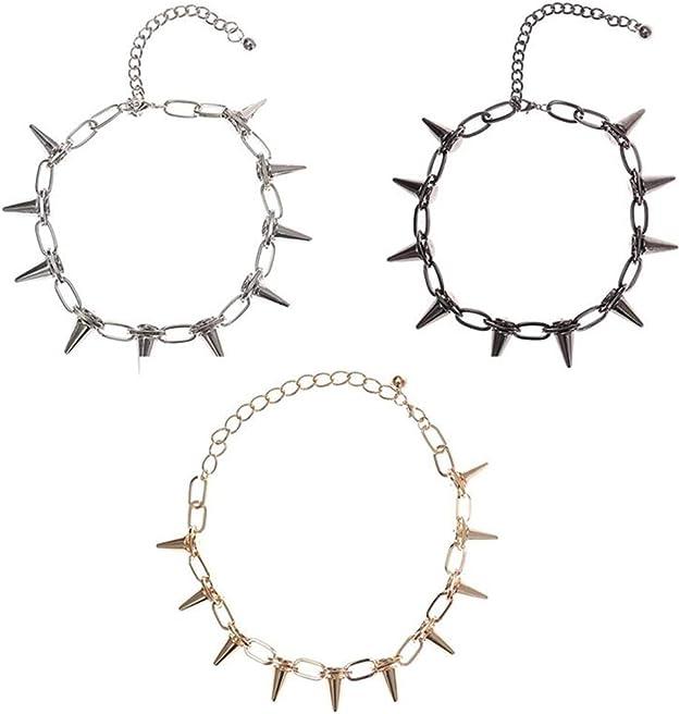 New Spike Rivet Punk Collar Necklace Goth Rock Biker Link Chain Choker Jewel JO