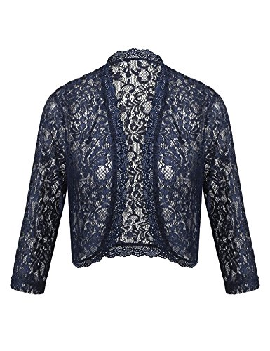 (Pinspark Junior Plus Size Lace Bolero Womens 3 4 Sleeve Cardigans Jackets Crochet Shrugs for Wedding (Navy Blue, Small))