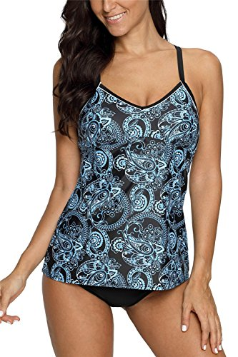 Bathing Suits Two Piece Floral Swimsuits Padded XXL (Floral Nylon Tankini)