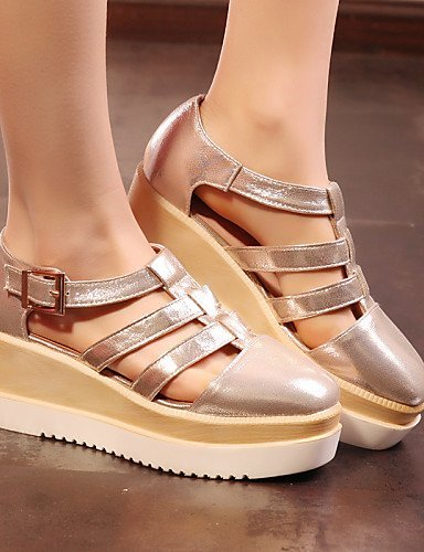 Dress Gold Silver Sandals Leatherette Shoes Women's Toe Black ShangYi Black Platform Square White Platform Gladiator a4zxxqwSR