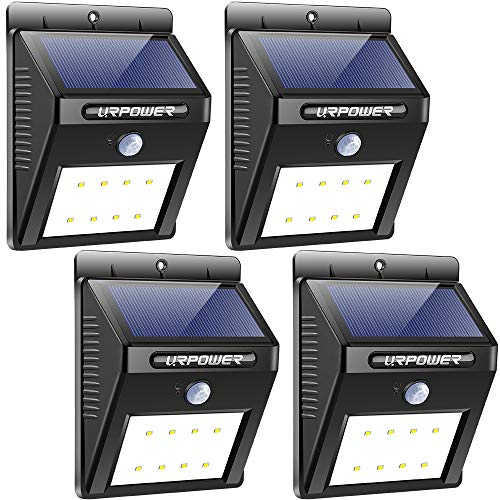 URPOWER Solar Lights Wireless Waterproof Motion Sensor Outdoor Light for Patio, Deck, Yard, Garden with Motion Activated Auto On/Off (4-Pack) (Solar Lighting Outdoor Porch Lights)