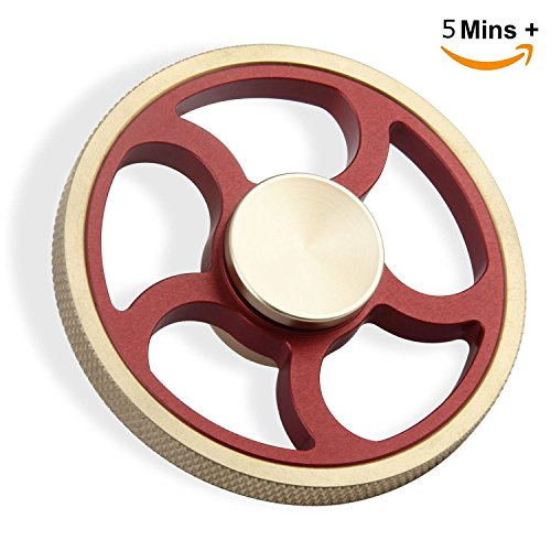 Elongdi Fidget Spinner Hand Spinner Brass Aluminum Help Focus Durable Finger Spinner Toy Perfect for Spend Time Relieves Anxiety Fidget EDC ADHD Autism Lessen Boredom, High Speed Up to 5mins (Red)