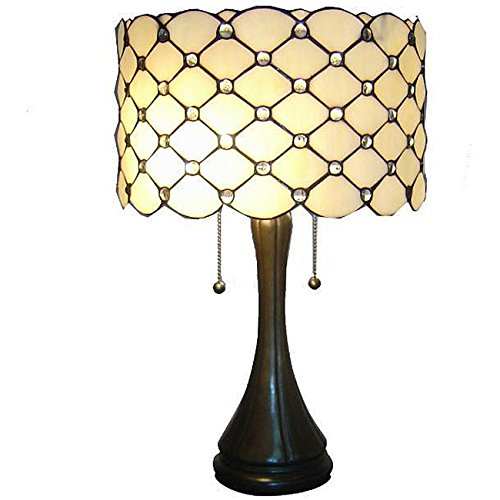 Whse of Tiffany TF7048TL Tiffany Style Jeweled Table Lamp, Bronze (Shade Tiffany Neutral)