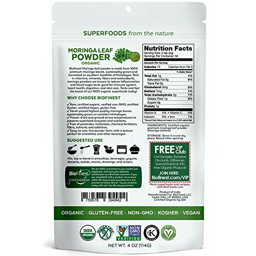 Biofinest Moringa Leaf Powder - 100% Pure Freeze-Dried Antioxidants Superfood - USDA Organic Vegan Raw Non-GMO - Boost Digestion Immune System - For Smoothie Beverage Blend (4 oz Resealable Bag)