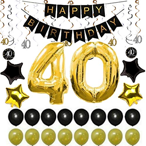 Uncommon Laundry 40th Birthday Party Decorations Men: for Him Her Birthday Banner, Balloons, Sparkling Hanging Swirls - Complete 36 Piece Bundle of Party -