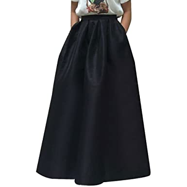 Women's High Waisted A line Pleated Full Maxi Ball Gown Skirt at ...