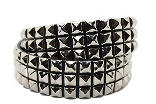 Leather 3 Pyramid Studded Belt - 6