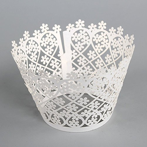 60 Pcs Laser Cut White Pearly Paper Floral Cupcake Wrappers Wraps Cases Wedding Birthday Party Decorations