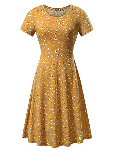 HUHOT Women Short Sleeve Round Neck Summer Casual Flared Midi Dress (Medium, Floral-24)