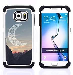 """Híbrido Heavy Duty armadura cubierta silicona prueba golpes Funda caso resistente para Samsung Galaxy S6 / SM-G920 SM-G920 , ( Luna Native American Indian Canyon"""" )"""
