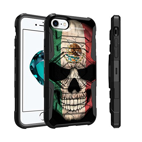 Mexico Clip - Untouchble Case for Apple iPhone 8 Plus and Apple iPhone 7 Plus Case [Max Alpha Holster] Dual Layer Hybrid Belt Clip Kickstand Cover Protector Rugged - Mexico Skull Flag