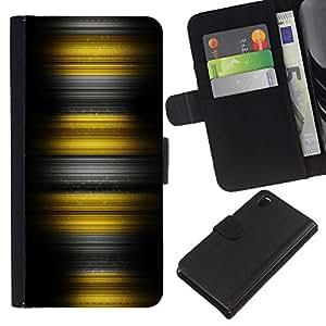 Planetar® Modelo colorido cuero carpeta tirón caso cubierta piel Holster Funda protección Para Sony Xperia Z3 D6603 ( Yellow Stripes )