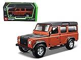 NEW 1:32 W/B BBURAGO COLLECTION - ORANGE LAND ROVER DEFENDER 110 Diecast Model Car By Bburago