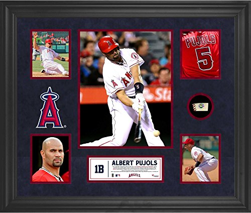 - Albert Pujols Los Angeles Angels of Anaheim Framed 5-Photo Collage with Piece of Game-Used Ball - MLB Player Plaques and Collages
