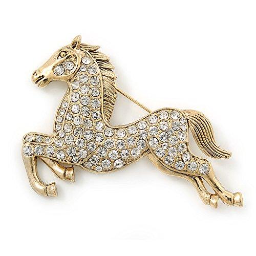 Avalaya Large Swarovski Crystal 'Horse' Brooch In Gold Plating - 70mm -