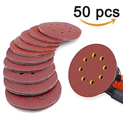 Sanding Discs,Bukm Sandpaper 8 Holes 5 Inch Hook and Loop,40/60/80/100/120/180/240/320/400/800Grit,Made From Premium Aluminum Oxide, 50 Pieces