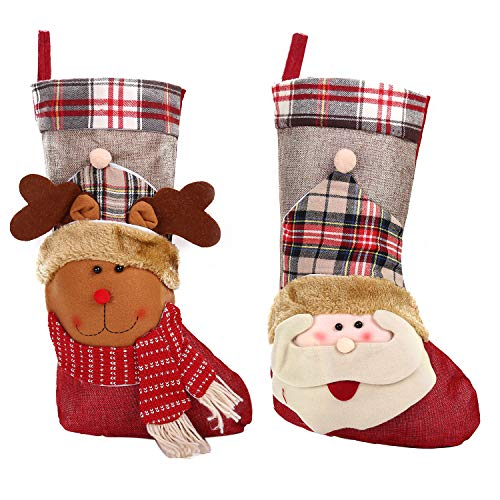 Christmas Socks Lovely-Stockings Set of 2 Xmas 3D Character Santa Claus and Elk Christmas Socks Linen Stocking Plush Christmas Home Decorations Party Accessory Kids Candy Gift Bag for Holiday Party ()