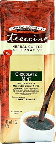 Mint Roasted Coffee (Teeccino Chocolate Mint Chicory Herbal Coffee Alternative, Caffeine Free, Acid Free, 11 Ounce (Pack of 3))