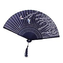 Butterflies Sakura Pattern Hand Fan Japanese Folding Pocket Fan Blue